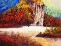 Oil Painting - Park in Autumn Royalty Free Stock Photography