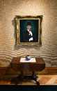 Oil painting portrait of rich wealthy man in art g a a or the is hanging an gallery or museum Royalty Free Stock Photo