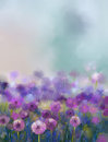 Oil painting Purple onion flower Royalty Free Stock Photo