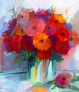 Oil painting red gerbera flowers in vase Royalty Free Stock Photo