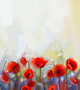 Oil Painting Red Poppy Flowers.