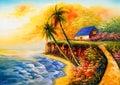 Oil Painting - Seacoast Royalty Free Stock Photo