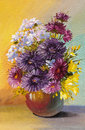 Oil painting of spring flowers in a vase on canvas. Abstract