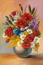 Oil painting of spring flowers in a vase on canvas. Abstract Royalty Free Stock Photo