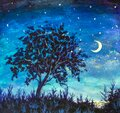 Oil painting - Starry Night With Lonely Tree Royalty Free Stock Photo