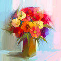 Oil painting still life of bouquet,yellow,red color flora. Gerbera,daisy and green leaf in vase