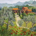 Oil painting of tuscan landscape Royalty Free Stock Photo