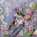 Oil painting of two goldfinch bird and flowers, oil on canvas. Couple Goldfinches Sitting on the Flower Branch Hand Painted Floral