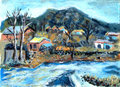Oil painting Village Stock Image