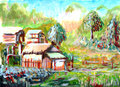 Oil painting Village Royalty Free Stock Photography