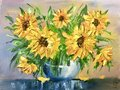 Oil painting yellow flowers. sunflowers in a vase. Yellow oil paints. Royalty Free Stock Photo