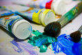 Oil paints and brushes. Royalty Free Stock Photo
