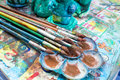Oil paints and paint brushes Royalty Free Stock Photo