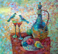 Oil paints picture from a series of kitchen still life Stock Photos