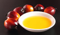 Oil palm fruit and cooking oil fruits a plate of on black background Stock Image