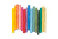 Oil pastels organized like a rainbow Royalty Free Stock Photo