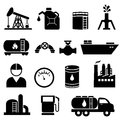 Oil and petroleum icon set in black Stock Photos