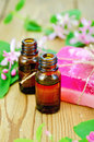 Oil and pink homemade soap with flowers of honeysuckle two bottles aromatic branches leaves on a background wooden Royalty Free Stock Photo