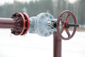 Oil pipeline valve gas outdoors Royalty Free Stock Photography