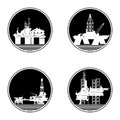 Oil platforms badges with drilling rigs and illustration on white background Royalty Free Stock Photography