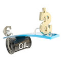 Oil price affects euro and usd dollar currency Stock Photography