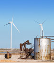Oil Pump and Wind Turbines Royalty Free Stock Images