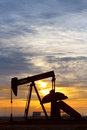 Oil Pumper At Sunrise Vertical Image Stock Images