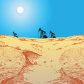 Oil pumps in desert production the the vector illustration Royalty Free Stock Images