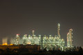 Oil refinery industrial plant at night Royalty Free Stock Photo