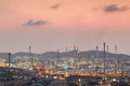 Oil refinery petrochemical plant in industial estate during sun factory Royalty Free Stock Image