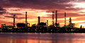 Oil refinery plant area morning background Stock Photos