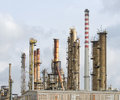 Oil refinery plant with lot of pipes Royalty Free Stock Photo