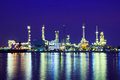 Oil refinery reflection of on the water surface Royalty Free Stock Photos