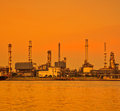 Oil refinery reflection of on the water surface Stock Photo