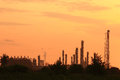 Oil refinery at sunrise Royalty Free Stock Photography