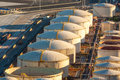 Oil refinery tanks Royalty Free Stock Photo