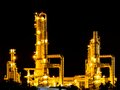 Oil refinery working at night Royalty Free Stock Photo
