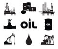 Oil research industrial set silhouette Stock Photos