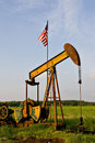 Oil Rig with American Flag Royalty Free Stock Photo