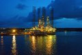 Oil rig at dusk Royalty Free Stock Photo