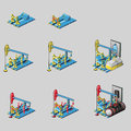 Oil rig eight consecutive icons of construction vector set Stock Photography