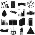 Oil rig, pump and other equipment for oil recovery, processing and storage.Oil set collection icons in black style