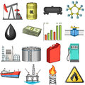 Oil rig, pump and other equipment for oil recovery, processing and storage.Oil set collection icons in cartoon style
