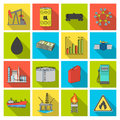 Oil rig, pump and other equipment for oil recovery, processing and storage.Oil set collection icons in flat style vector