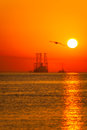 Oil rig at sunrising Royalty Free Stock Photos
