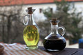 Oil and soy sauce carafe on the table Stock Images