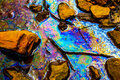 Oil spill. Environmental pollution in Hungary, 04/16/2011 Royalty Free Stock Photo