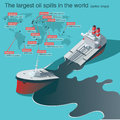 Oil spills catastrophe wrecked tanker ship spill infographic vector illustration Royalty Free Stock Images