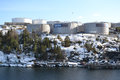 Oil storage on the outskirts of stockholm sweden april sweden Stock Photography
