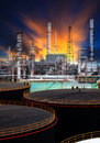 Oil storage tank and petrochemical refinery plant use for energy fuel gas and petroleum topic Royalty Free Stock Photo